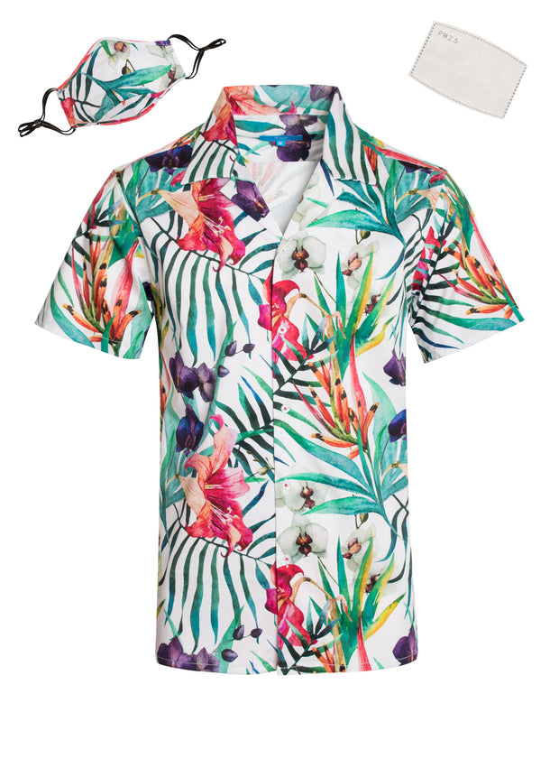 3045 Tropical Cotton S/S Shirt with Matching Mask