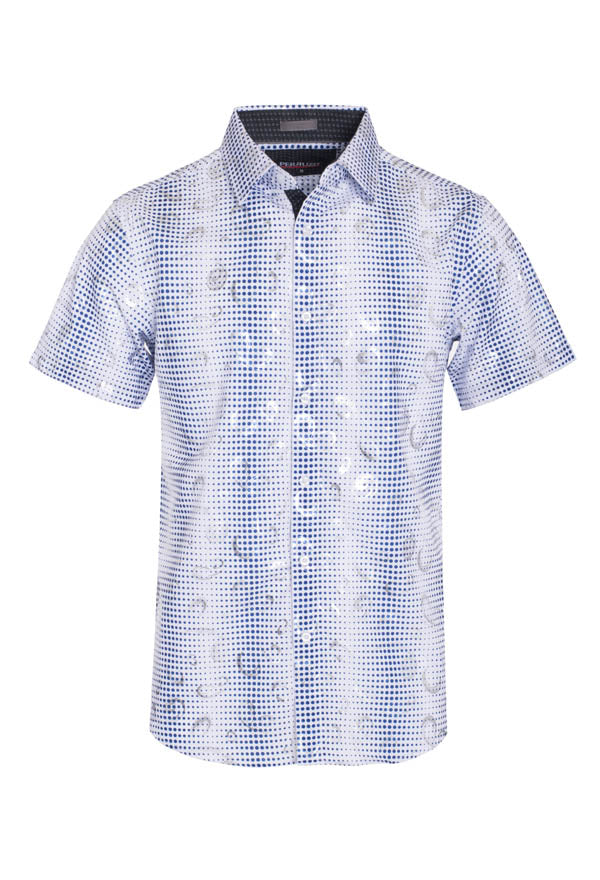 Men's White Geometric Stretch Short-Sleeve Shirt