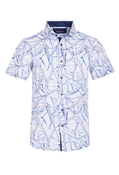 Men's White Abstract Stretch Short-Sleeve Shirt