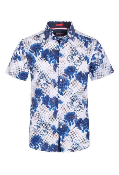 White Geometric Floral Stretch Short-Sleeve Shirt (3747)