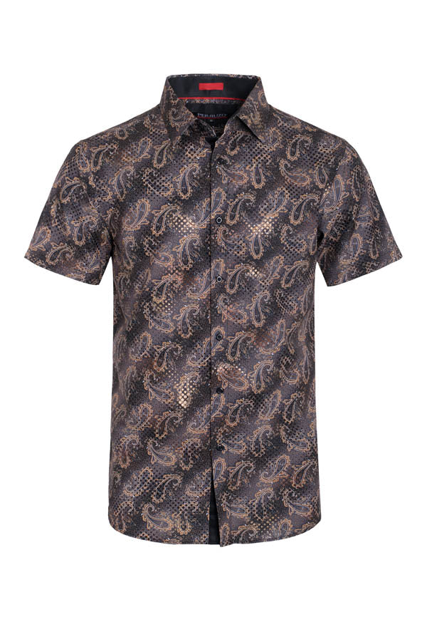 Gold Paisley Stretch Short-Sleeve Shirt (3748)