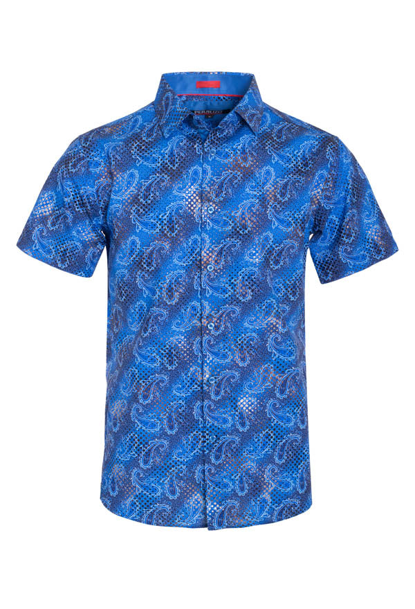 Men's Blue Paisley Stretch Short-Sleeve Shirt