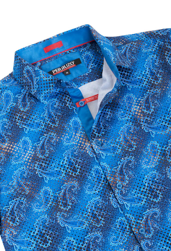 Blue Paisley Stretch Short-Sleeve Shirt (3748)