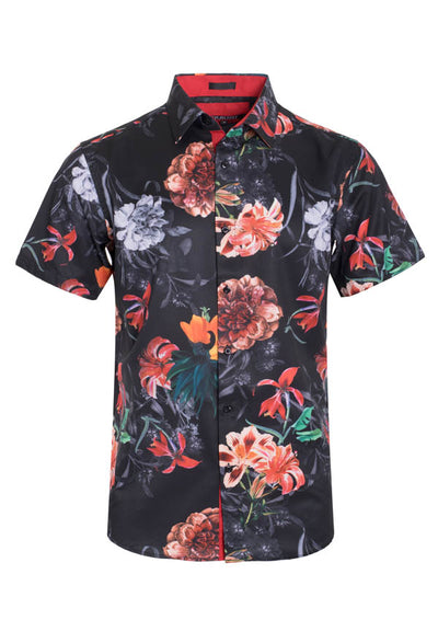 Men's Black Floral Stretch Short-Sleeve Shirt
