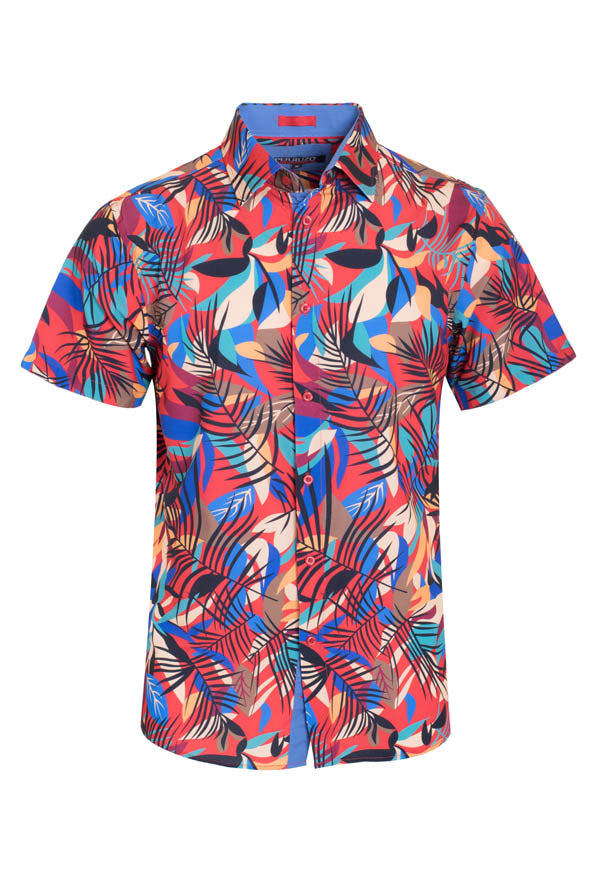 Men's Red Floral Stretch Short-Sleeve Shirt