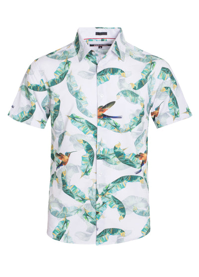 White Floral Stretch Short-Sleeve Shirt Men