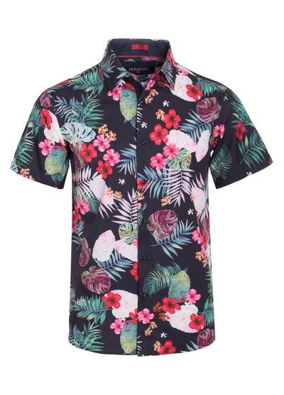 Black Floral Stretch Short-Sleeve Shirt (3760)