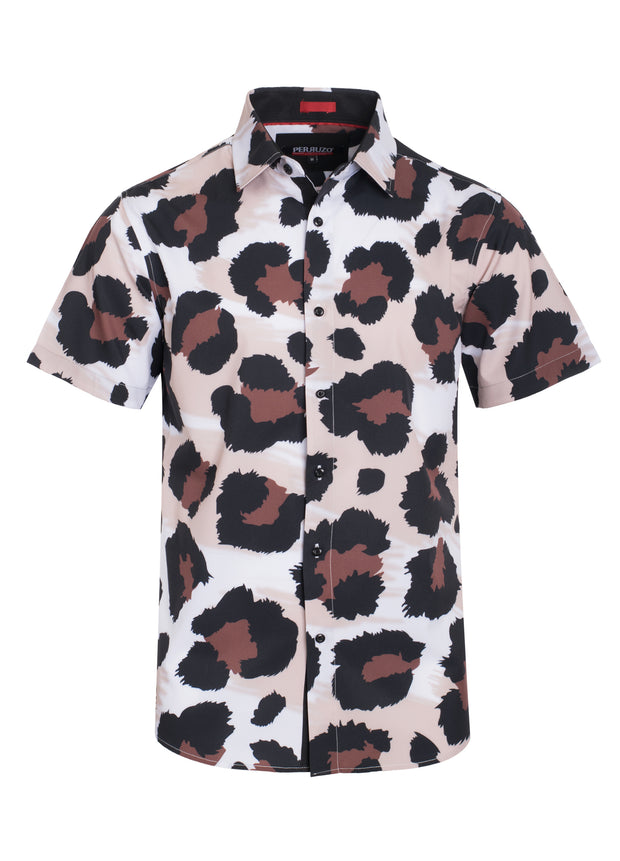 Large Cheetah Print Stretch Short-Sleeve Shirt (3761)