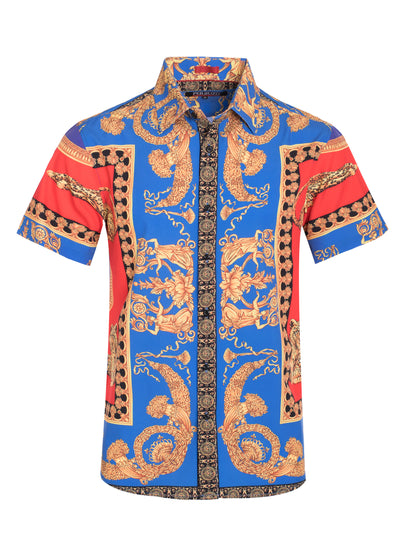 Jaguar Luxury Vintage Print Stretch Short-Sleeve Shirt (3763)