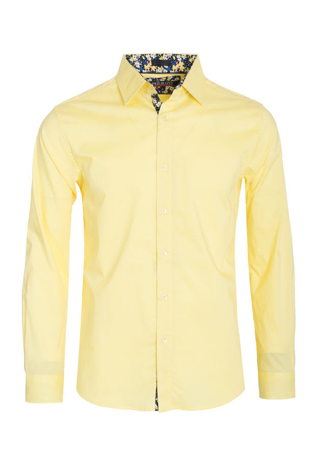 Men's Yellow Solid Cotton-Stretch L/S Shirt