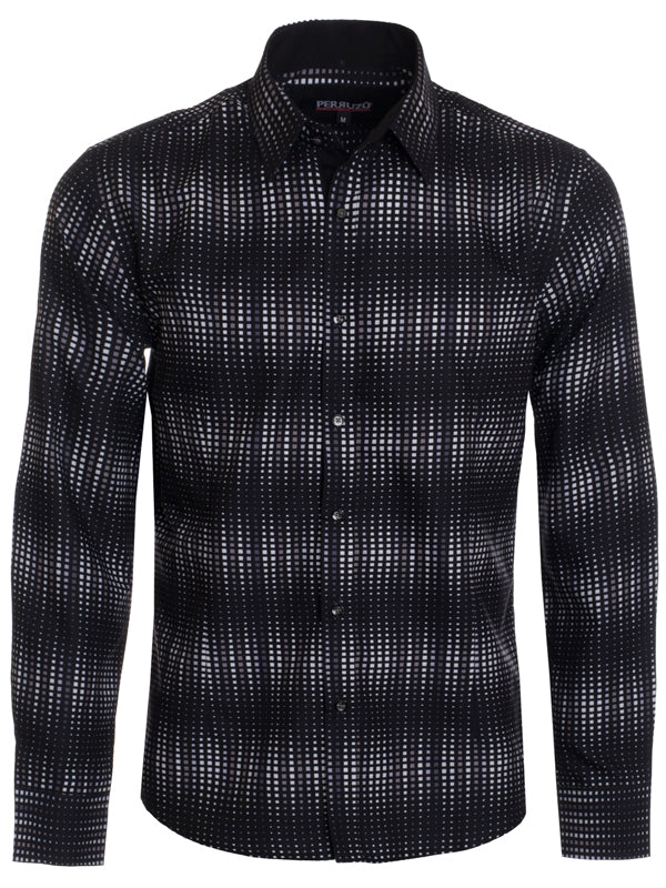 Men's Black Polka Dots Long Sleeve Shirt