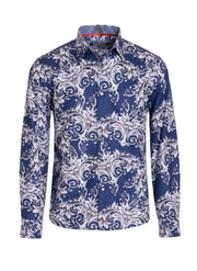 Men's Royal Paisley Long Sleeve Shirt