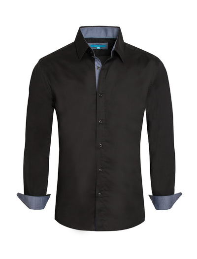 Black Solid Cotton-Stretch L/S Shirt (4020)