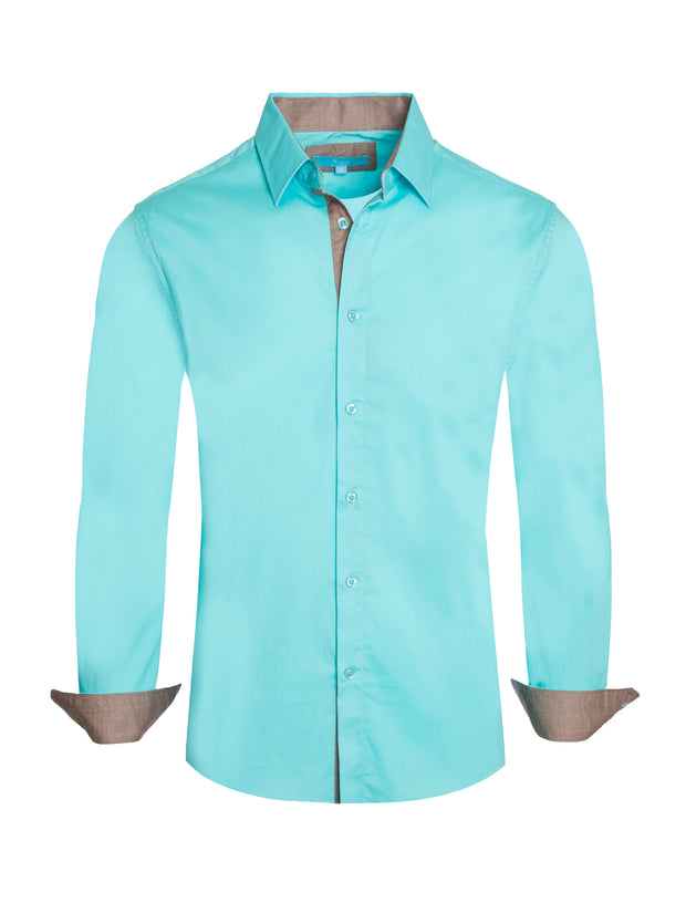 Turquoise Solid Cotton-Stretch L/S Shirt (4020)