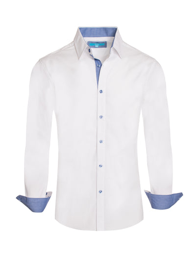 White Solid Cotton-Stretch L/S Shirt (4020)