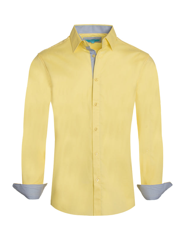 Yellow Solid Cotton-Stretch L/S Shirt (4020)