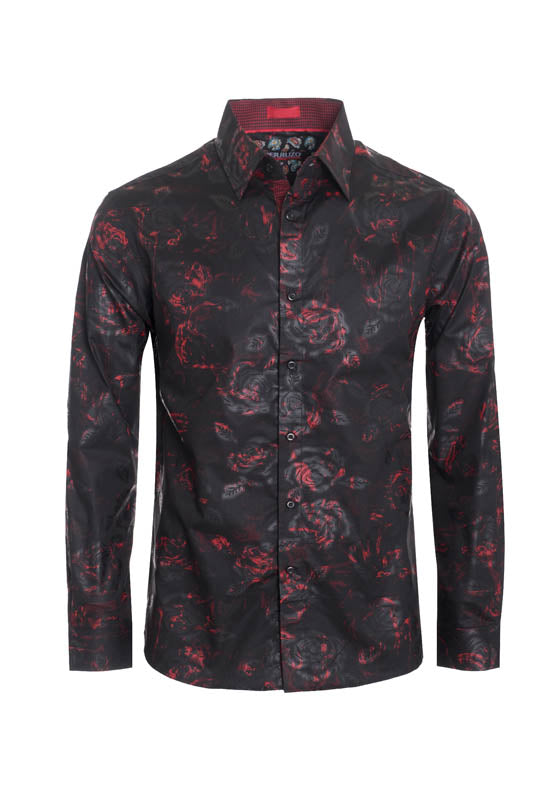 Black Floral Printed Long Sleeve Shirt (4022L)