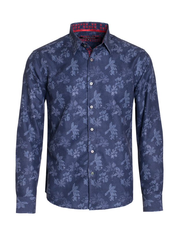 Men's Navy Printed Long Sleeve Shirt
