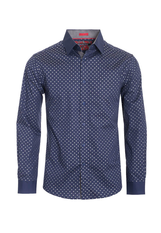 Navy Polka Dots Long Sleeve Shirt (4024L)
