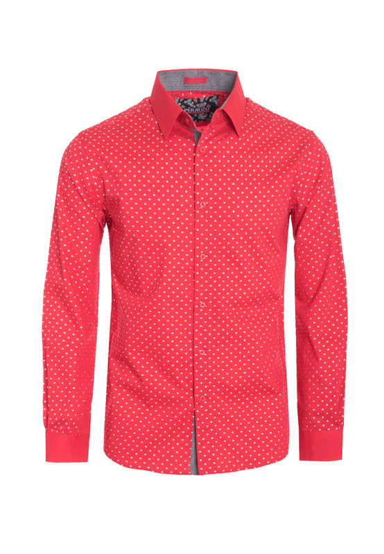 Red Polka Dots Long Sleeve Shirt (4024L)