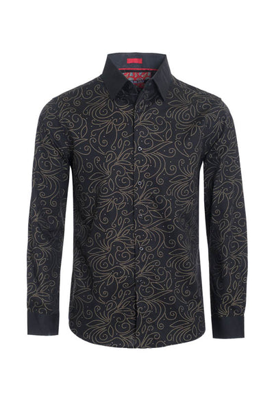 Black Floral Outline Printed Long Sleeve Shirt (4028L)