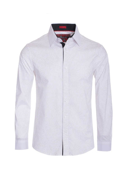 Men's White Floral Outline Printed Long Sleeve Shirt
