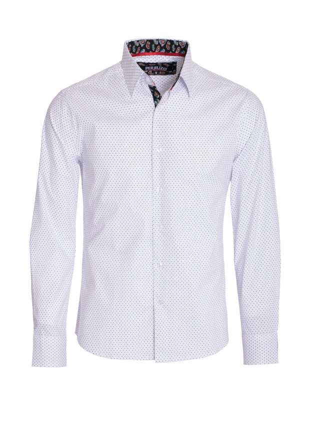 Men's White Polka Dots Long Sleeve Shirt