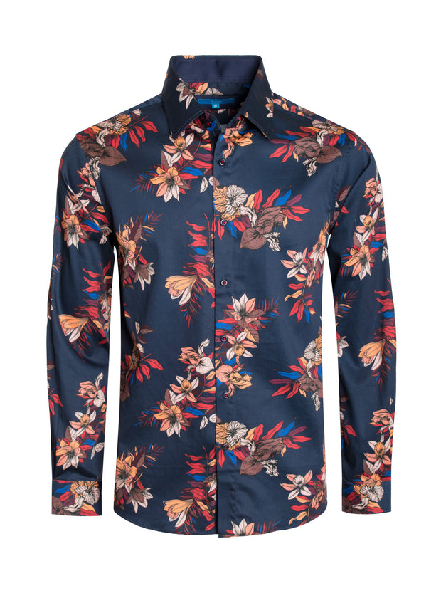 Mens Floral Long Sleeve Shirt