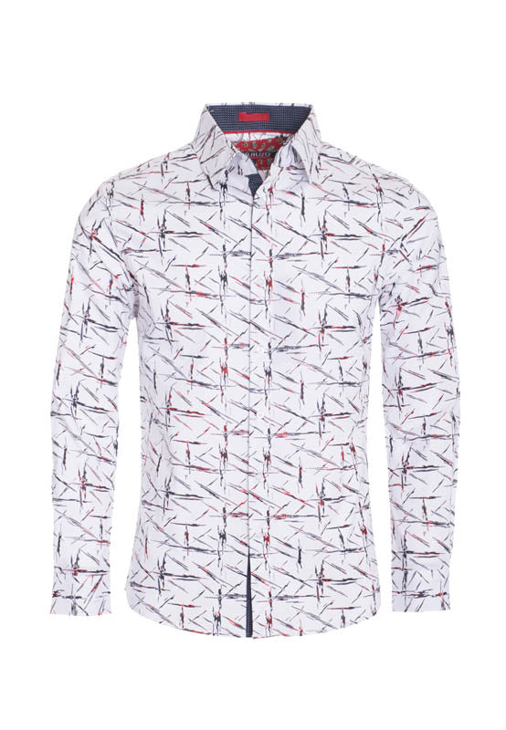 White Geometric Printed Long Sleeve Shirt (4044L)