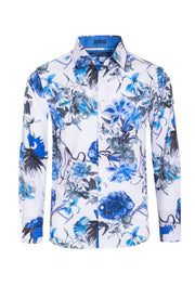 Men's White Stretch Floral Shirt