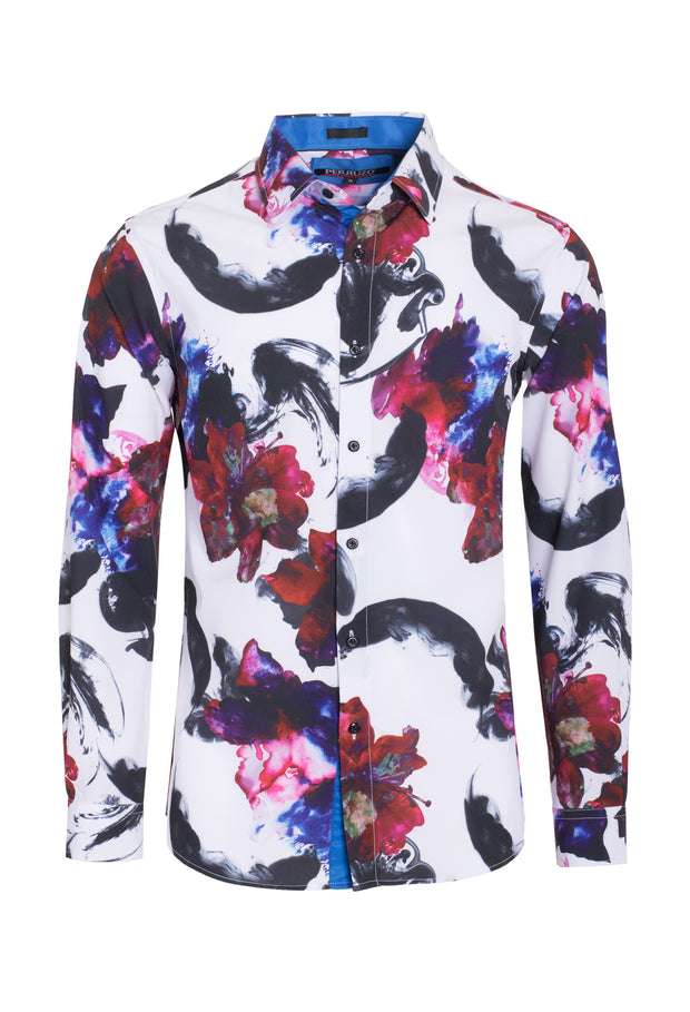 Men's Red Stretch Floral Shirt