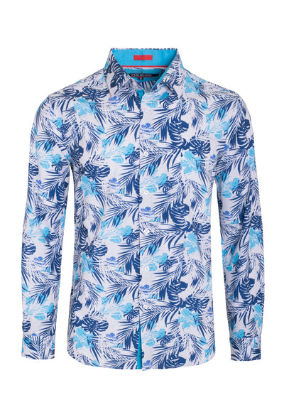 Men's Turquoise Stretch Floral Shirt