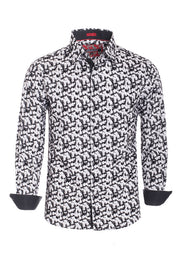 Men's White Abstract Long Sleeve Shirt
