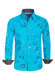 Turquoise Floral Long Sleeve Shirt (4019)
