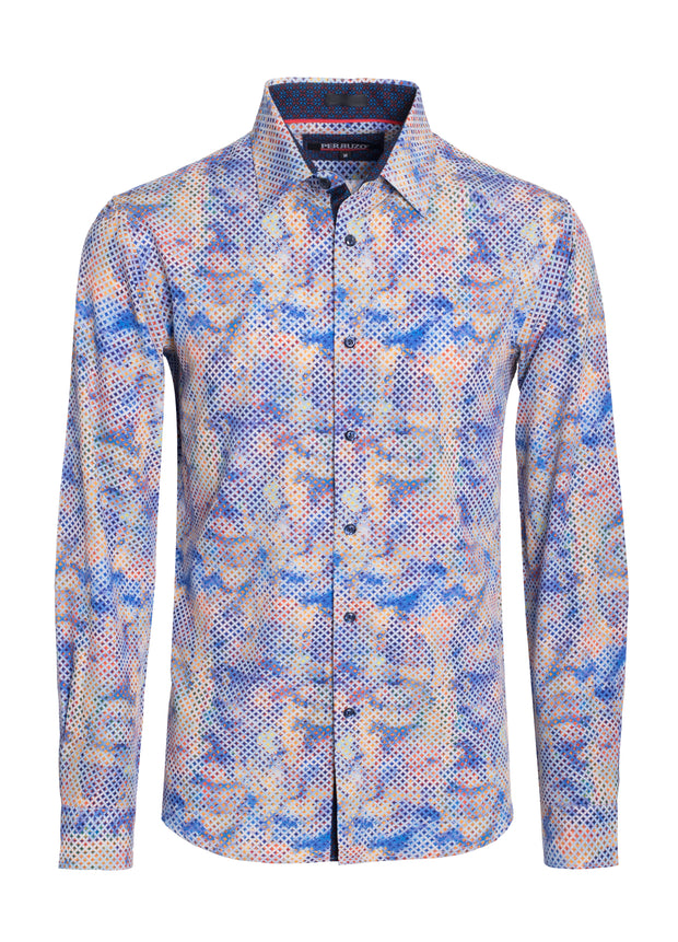 Azul Multi Print Cotton-Stretch L/S Shirt (4825)