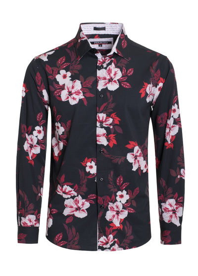 Black Tropical Print Cotton-Stretch L/S Shirt Men