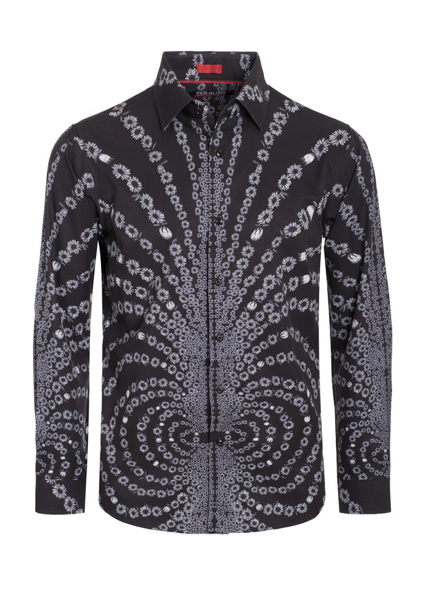 Black Digital Printed Design Stretch L/S Shirt (4836)