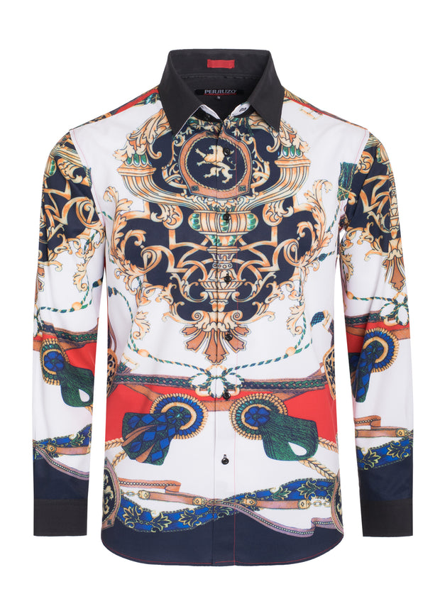 White Digital Printed Design Stretch L/S Shirt (4837)