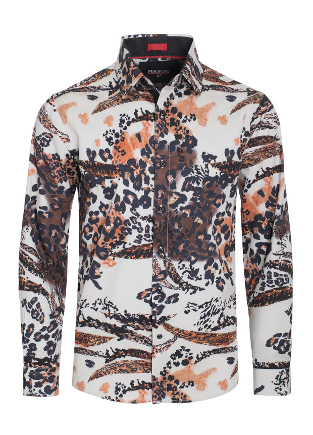 Cheetah Digital Printed Design Stretch L/S Shirt (4838)