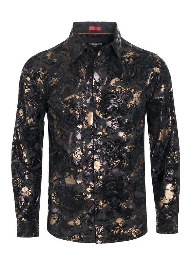 Black Digital Printed Design Stretch L/S Shirt (4839)