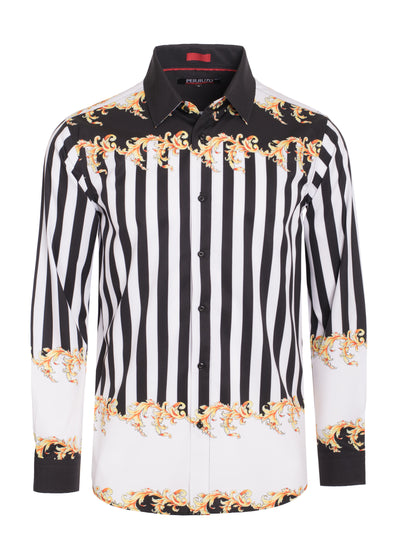 Black Digital Printed Design Stretch L/S Shirt (4840 Striped)