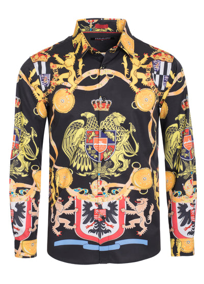 Black Animal Digital Printed Design Stretch L/S Shirt (4842)