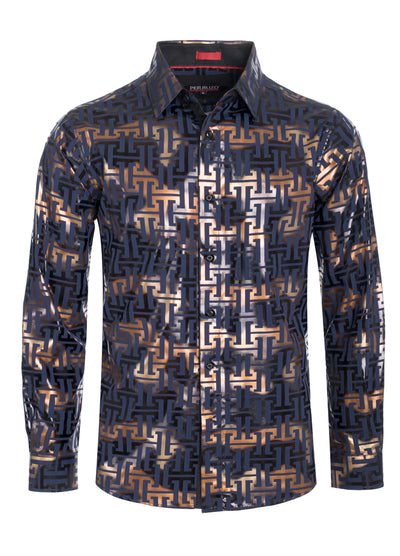 Gold Geometric Digital Printed Design Stretch L/S Shirt (4844)