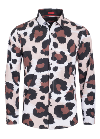 Brown Cheetah Digital Printed Design Stretch L/S Shirt (4847)