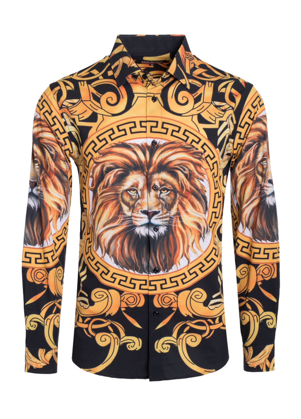 Lion Luxury Print Design Cotton-Stretch L/S Shirt