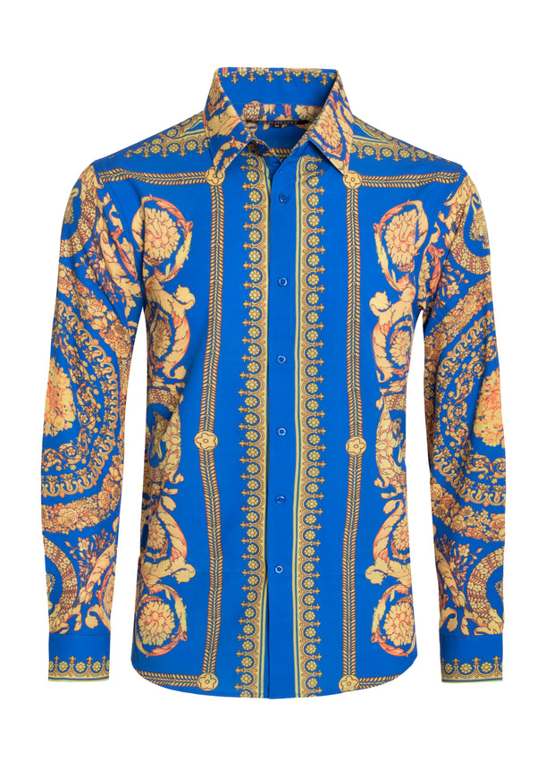 Vintage Luxury Print Design Cotton-Stretch L/S Shirt Men