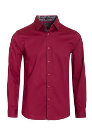 Burgundy Solid Cotton-Stretch L/S Shirt (4030)