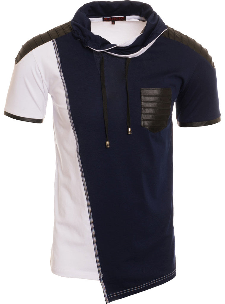 White/Navy Short Sleeve Fashion Top (5117S)