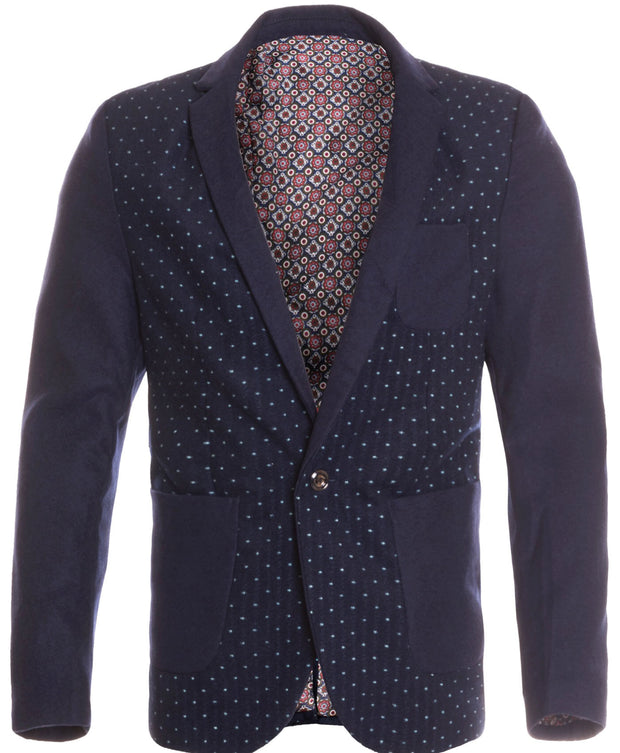 Men's Navy Single Button Blazer