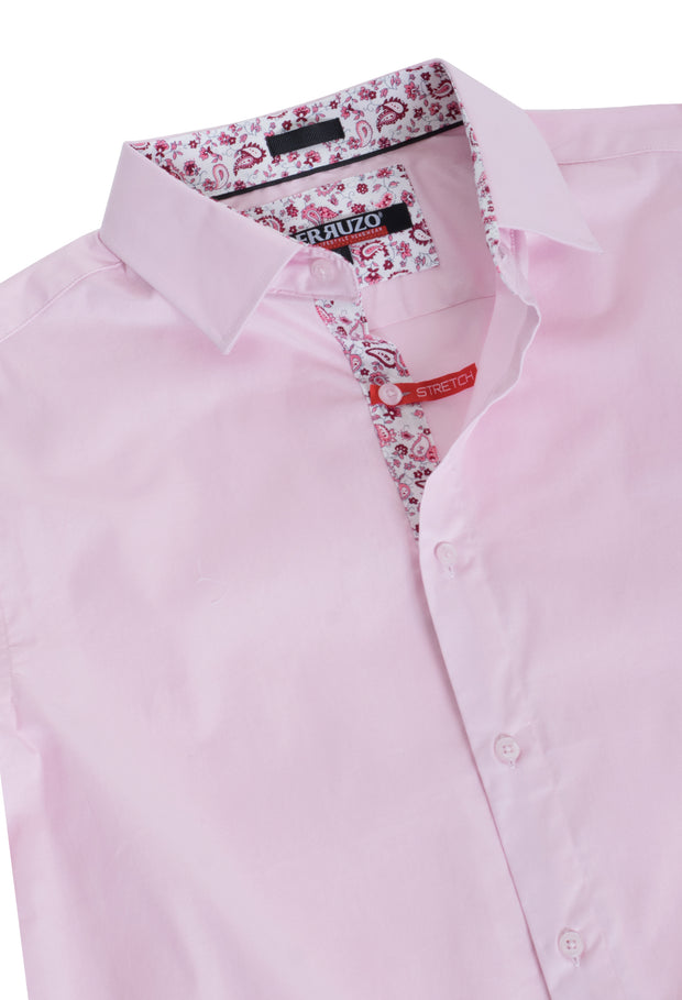 Pink Solid Cotton-Stretch L/S Shirt (4030)
